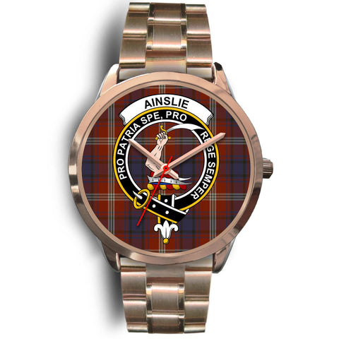 Ainslie, Rose Gold Metal Link Watch,  leather steel watch, tartan watch, tartan watches, clan watch, scotland watch, merry christmas, cyber Monday, halloween, black Friday