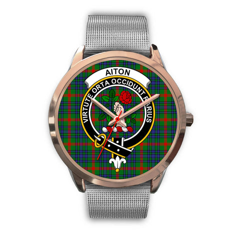 Aiton, Rose Gold Metal Link Watch,  leather steel watch, tartan watch, tartan watches, clan watch, scotland watch, merry christmas, cyber Monday, halloween, black Friday