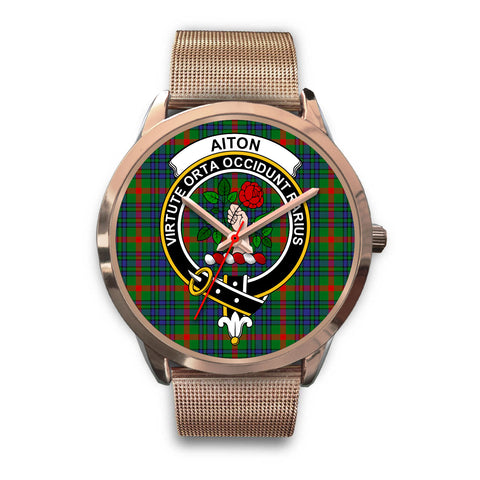 Aiton, Black Leather Watch,  leather steel watch, tartan watch, tartan watches, clan watch, scotland watch, merry christmas, cyber Monday, halloween, black Friday