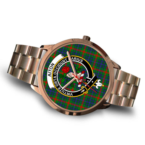 Aiton, Brown Leather Watch,  leather steel watch, tartan watch, tartan watches, clan watch, scotland watch, merry christmas, cyber Monday, halloween, black Friday