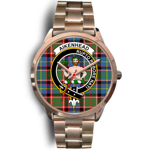 Aikenhead, Rose Gold Metal Link Watch,  leather steel watch, tartan watch, tartan watches, clan watch, scotland watch, merry christmas, cyber Monday, halloween, black Friday