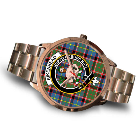 Aikenhead, Brown Leather Watch,  leather steel watch, tartan watch, tartan watches, clan watch, scotland watch, merry christmas, cyber Monday, halloween, black Friday