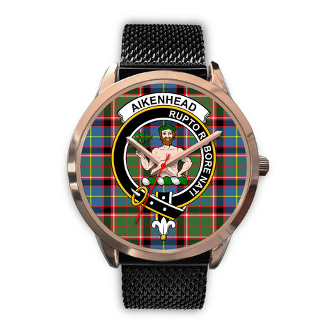 Aikenhead, Silver Metal Link Watch,  leather steel watch, tartan watch, tartan watches, clan watch, scotland watch, merry christmas, cyber Monday, halloween, black Friday