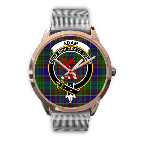 Adam, Rose Gold Metal Link Watch,  leather steel watch, tartan watch, tartan watches, clan watch, scotland watch, merry christmas, cyber Monday, halloween, black Friday
