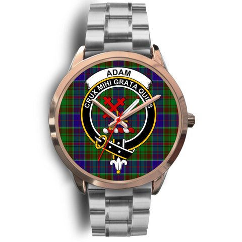 Adam, Brown Leather Watch,  leather steel watch, tartan watch, tartan watches, clan watch, scotland watch, merry christmas, cyber Monday, halloween, black Friday