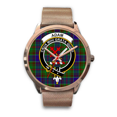 Adam, Black Leather Watch,  leather steel watch, tartan watch, tartan watches, clan watch, scotland watch, merry christmas, cyber Monday, halloween, black Friday