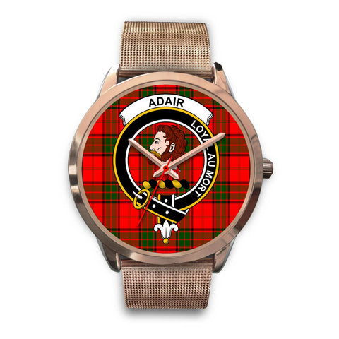 Adair, Black Leather Watch,  leather steel watch, tartan watch, tartan watches, clan watch, scotland watch, merry christmas, cyber Monday, halloween, black Friday