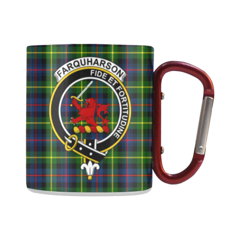 Image of Farquharson Modern Tartan Mug Classic Insulated - Clan Badge | scottishclans.co