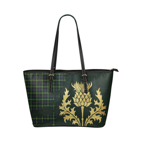 Baillie Modern Tartan - Thistle Royal Leather Tote Bag