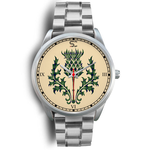 Image of Tweedside District Tartan Thistle Silver Watch