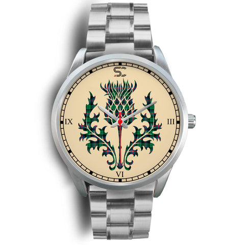 Urquhart Broad Red Ancient Tartan Thistle Silver Watch