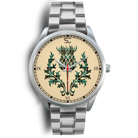 Wallace Hunting Ancient Tartan Thistle Silver Watch
