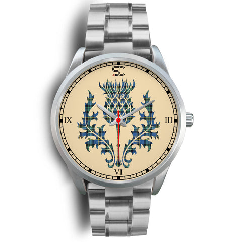 Weir Ancient Tartan Thistle Silver Watch