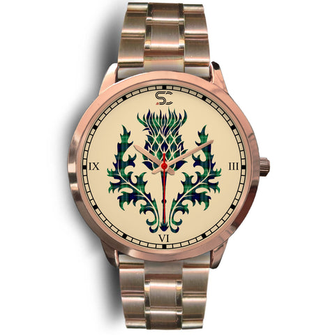 Abercrombie Tartan Thistle Rose Gold Watch
