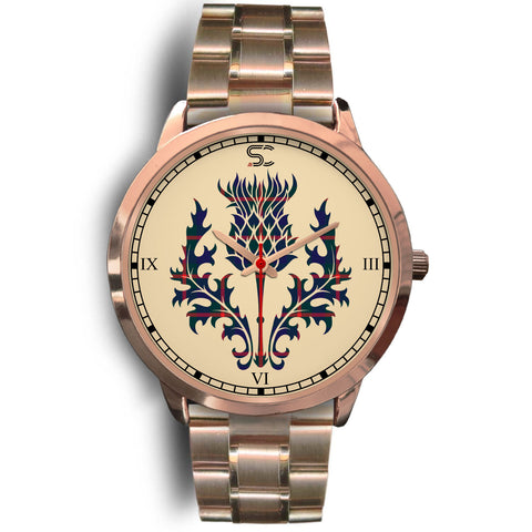 Agnew Modern Tartan Thistle Rose Gold Watch