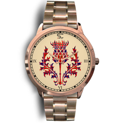 Cameron of Lochiel Modern Tartan Thistle Rose Gold Watch