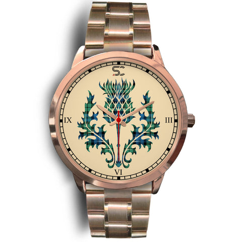 Campbell Ancient 01 Tartan Thistle Rose Gold Watch