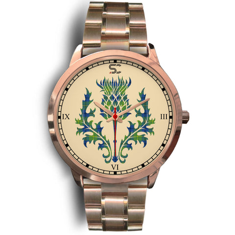 Johnston Ancient Tartan Thistle Rose Gold Watch