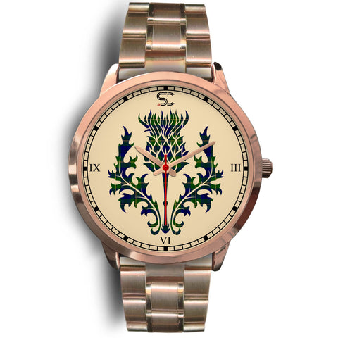Johnston Modern Tartan Thistle Rose Gold Watch