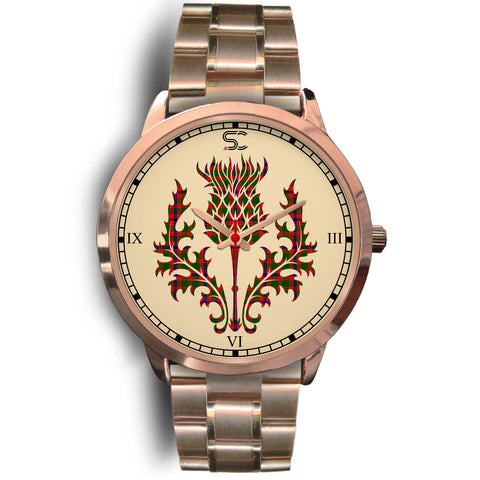Skene Modern Tartan Thistle Rose Gold Watch