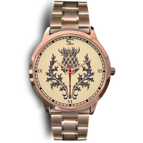 Taylor Weathered Tartan Thistle Rose Gold Watch
