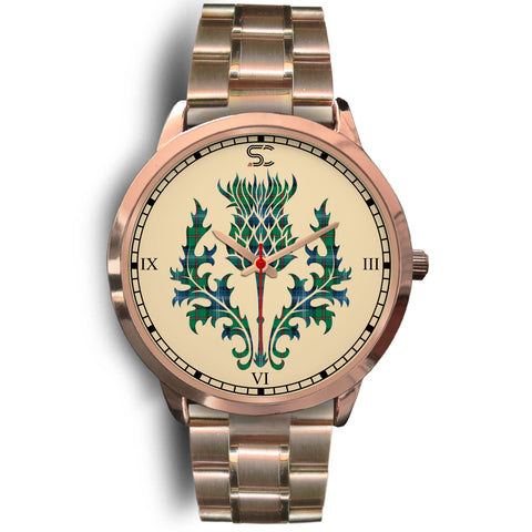 Urquhart Ancient Tartan Thistle Rose Gold Watch