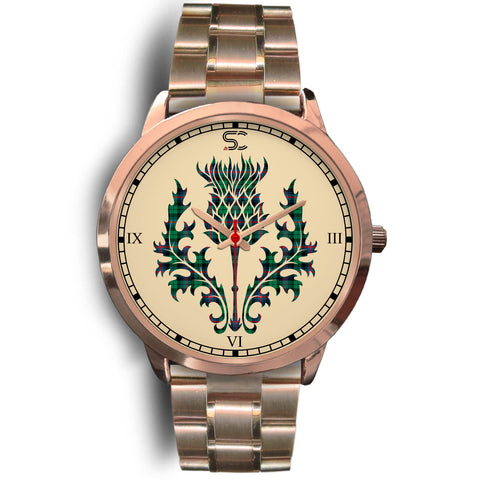 Urquhart Broad Red Ancient Tartan Thistle Rose Gold Watch