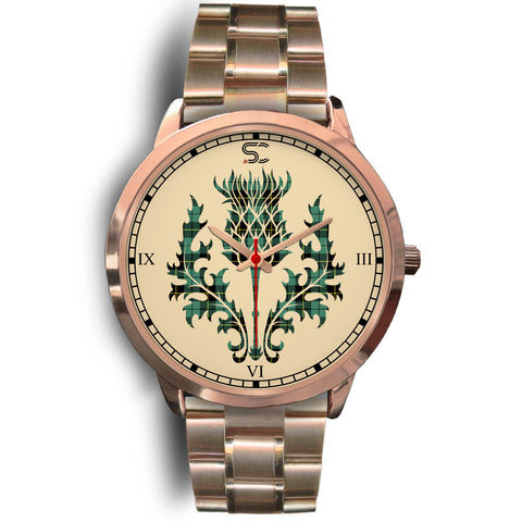 Wallace Hunting Ancient Tartan Thistle Rose Gold Watch