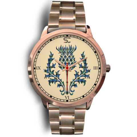 Weir Ancient Tartan Thistle Rose Gold Watch