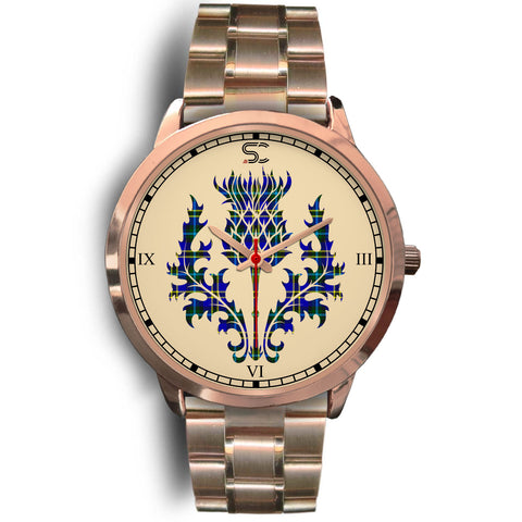 Weir Modern Tartan Thistle Rose Gold Watch