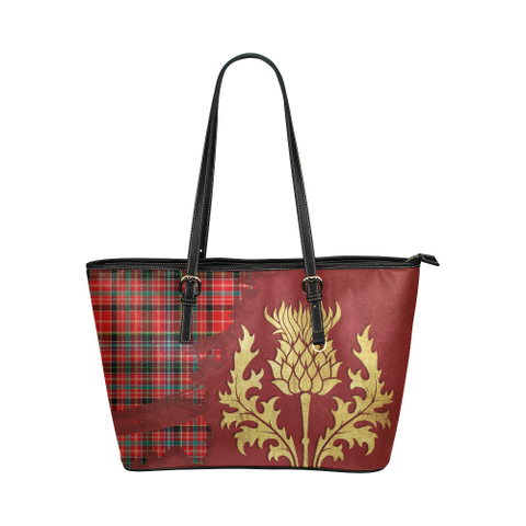 Aberdeen District Tartan - Thistle Royal Leather Tote Bag