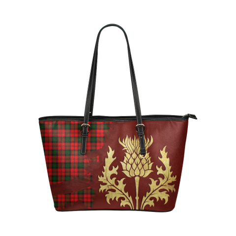 Image of Kerr Modern Tartan - Thistle Royal Leather Tote Bag