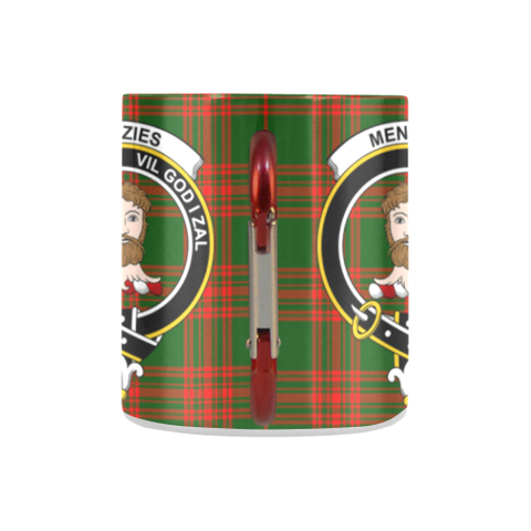 Menzies Green Modern Tartan Mug Classic Insulated - Clan Badge K7