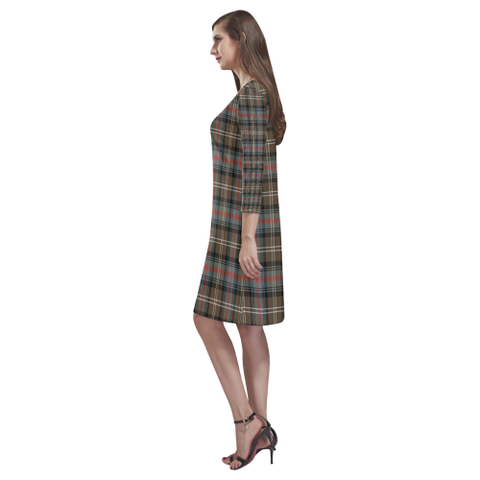 Tartan dresses - Sutherland Weathered Tartan Dress - Round Neck Dress TH8