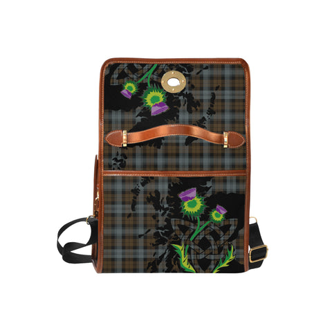 BlackWatch Weathered Tartan Map & Thistle Waterproof Canvas Handbag| Hot Sale