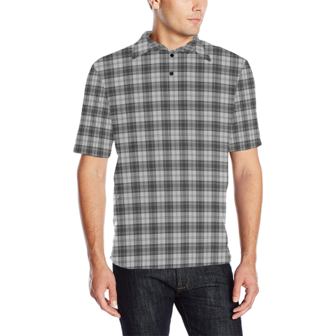 Image of Douglas Grey Modern  Tartan Polo Shirt