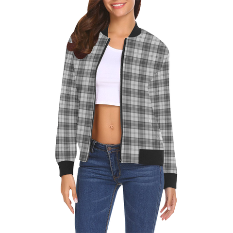 Image of Douglas Grey Modern Tartan Bomber Jacket | Scottish Jacket | Scotland Clothing