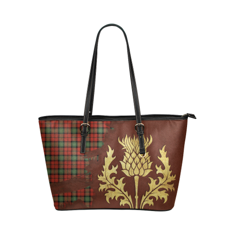 Image of Kerr Ancient Tartan - Thistle Royal Leather Tote Bag