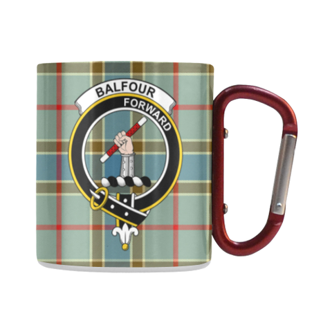 Image of Balfour Blue  Tartan Mug Classic Insulated - Clan Badge | scottishclans.co