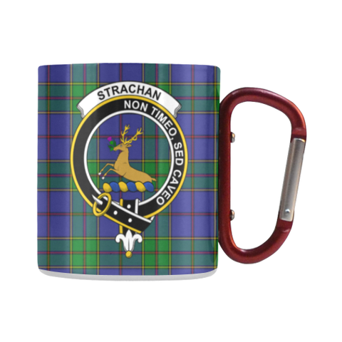 Strachan Tartan Mug Classic Insulated - Clan Badge | scottishclans.co