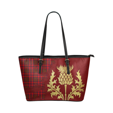 Murray Of Tulloch Modern Tartan - Thistle Royal Leather Tote Bag