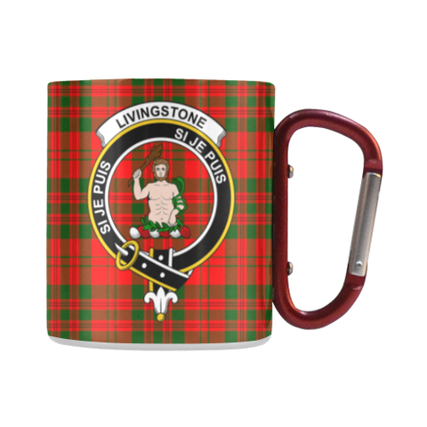 Livingstone Modern Tartan Mug Classic Insulated - Clan Badge | scottishclans.co