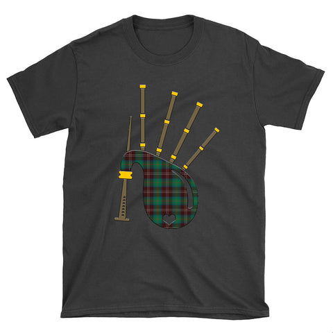 Chisholm Hunting Ancient Tartan Bagpipes T-Shirt