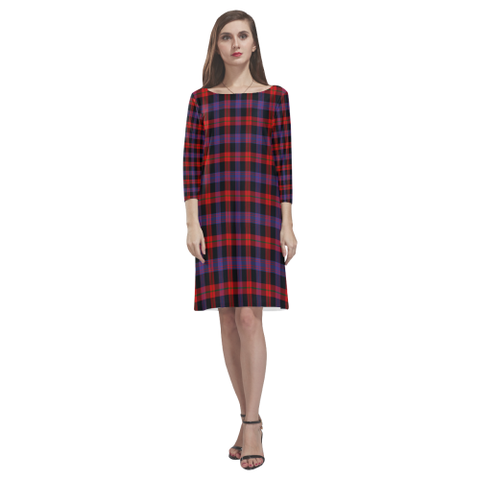 Brown Modern Tartan Dress - Rhea Loose Round Neck Dress TH8