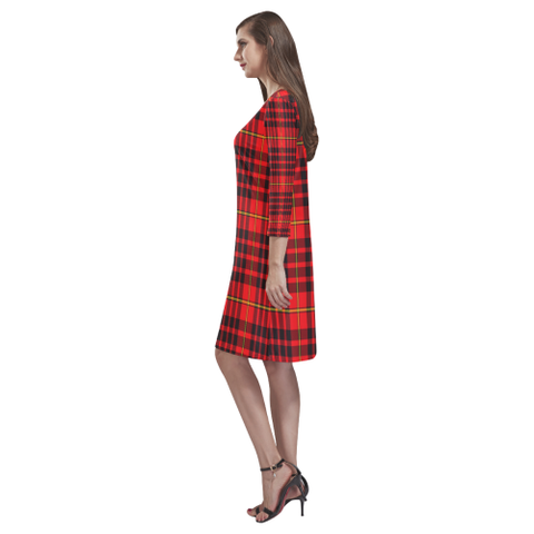 Tartan dresses - Macian Tartan Dress - Round Neck Dress TH8