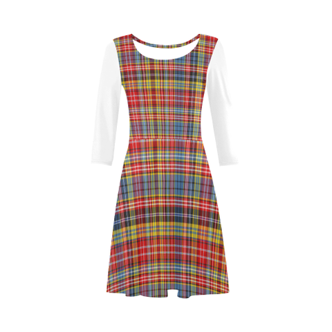 Image of Drummond of Strathallan Tartan 3/4 Sleeve Sundress | Exclusive Over 500 Clans