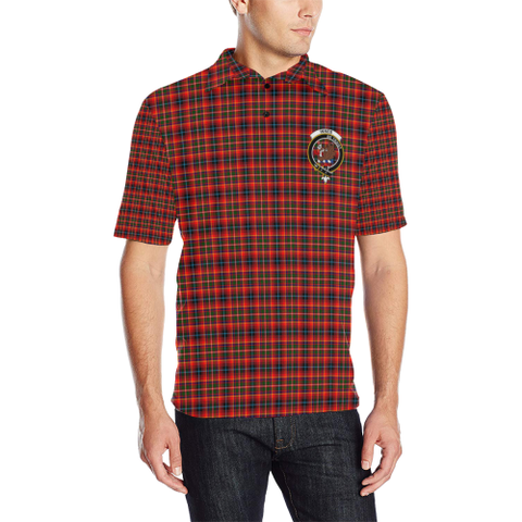 Image of Innes Modern Tartan Clan Badge Polo Shirt