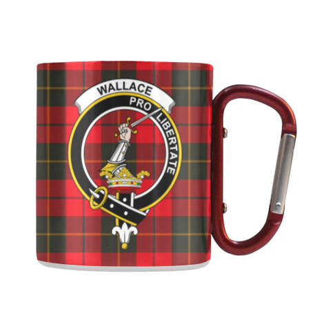 Image of Wallace Weathered Tartan Mug Classic Insulated - Clan Badge | scottishclans.co