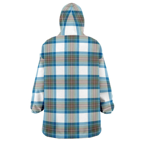 Stewart Muted Blue Snug Hoodie - Unisex Tartan Plaid Back