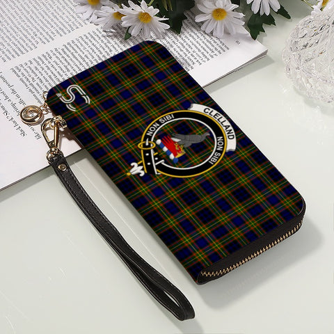 Image of Clelland Modern  Crest Tartan Zipper Wallet™